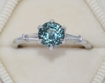 Three Stone Ring Montana Sapphire Ring, SETTING ONLY, Custom Made Teal Sapphire Ring, Baguette Diamond Vintage Style Ring, 3 stone Ring