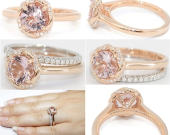 Interwoven Engagement Ring, Entwined Twist Proposal Ring, Custom Made Diamond Halo Infinity Morganite Rose Gold Ring