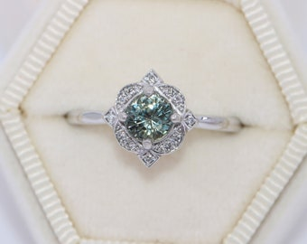 GIA Certified Unheated Montana Sapphire Ring, 1.8 carat Teal Montana Sapphire Engagement Ring