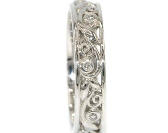 Leaf Vine Scroll Pattern Wedding Eternity Ring, Diamond Nature Inspired Rustic Boho Eternity Band