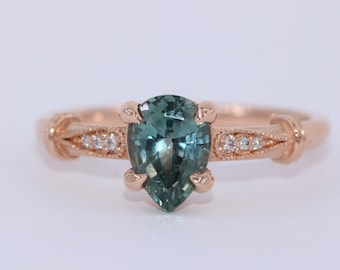 1.5 carat Unheated Montana Sapphire Engagement Ring, Custom Made Natural Montana Ring, Vintage Style Pear Blue Green Sapphire Ring