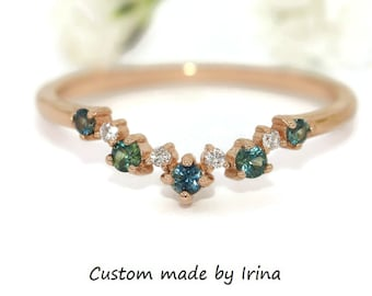 Nesting Cluster Band with Alternating Blue Green Sapphires and Diamonds