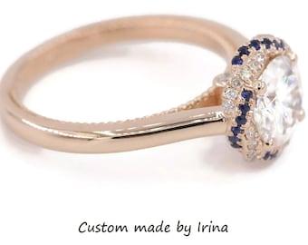 Moissanite Engagement Ring by Irina, Diamond+Sapphire Braided Halo Meaningful Engagement Ring, Forever One Moissanite 14k Rose Gold Ring