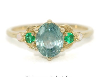 Montana Sapphire Ring, 5 stone ring, Setting ONLY, 3 stone ring, Custom Made Unheated Montana Sapphire Ring, Opal Leaf Ring, Emerald Ring