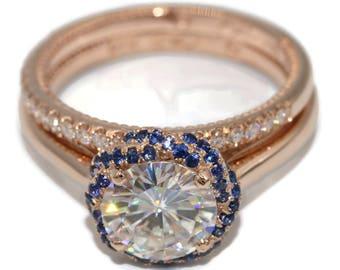 8 mm Moissanite Braided Blue Sapphires Halo Engagement Ring Set, Certified Moissanite Engagement Ring set, Nesting Engagement Rings Set