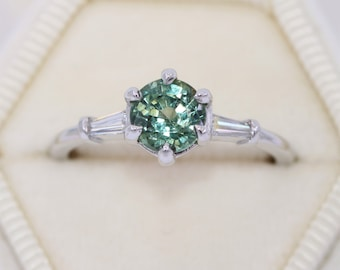 Three Stone Ring, 1.7 carat Unheated Montana Sapphire Ring, Art Deco Inspired Teal Green Sapphire Ring, Baguette Diamond Vintage Style Ring