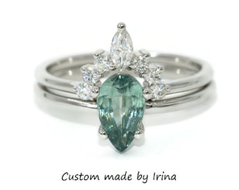 Pear Montana Sapphire Engagement Ring, Custom Made Unheated Natural Montana Ring, SETTING ONLY, Teal Blue Green Mermaid Sapphire Ring