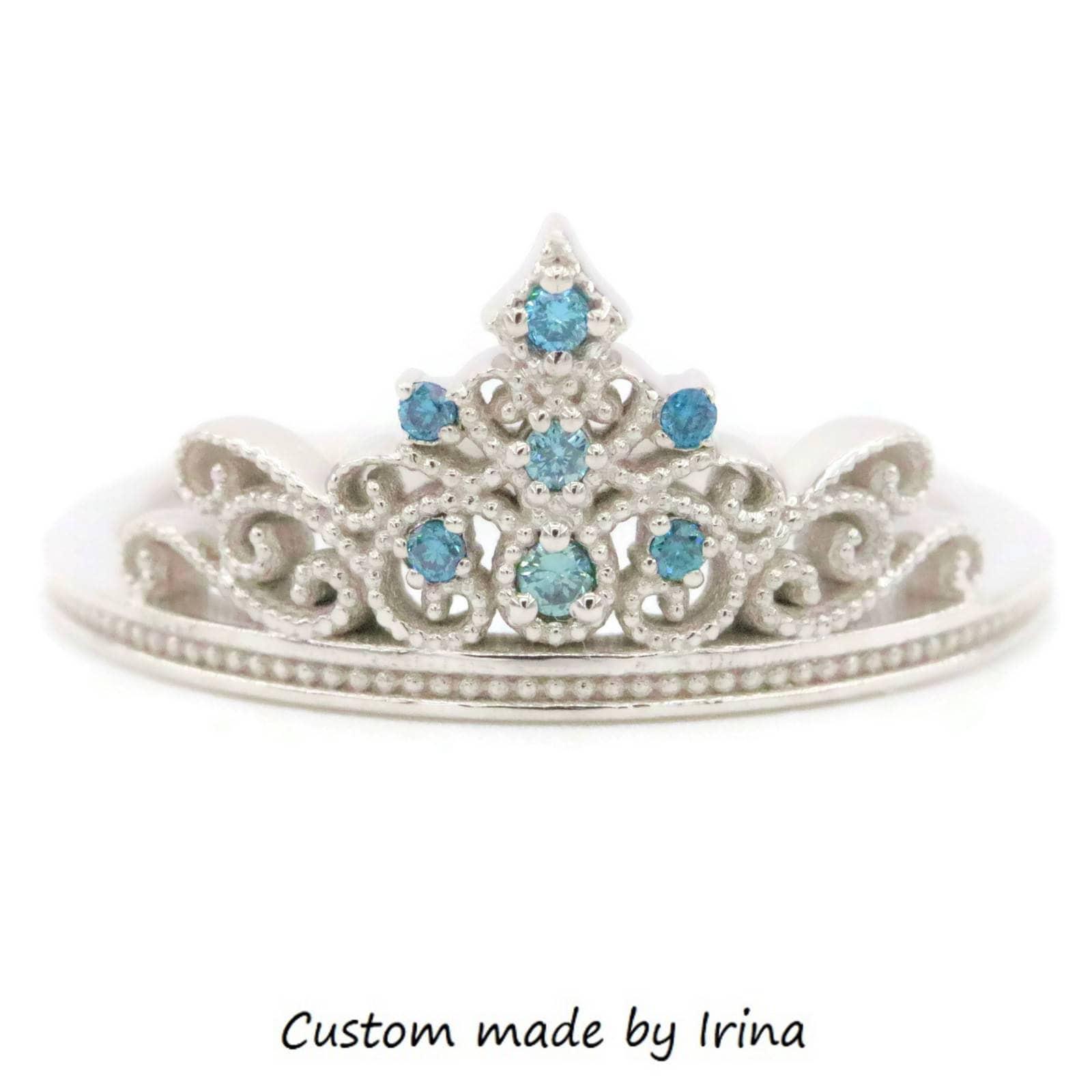 Fairy Tales Wedding Ring Sets: Tiara Fairy Tale Ring, Princess Ring, Tiara Ring, Wedding