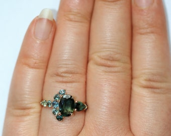 Oval Green Sapphire Cluster Engagement Ring, One Of A Kind Half-Moon Ring, Crescent Ring, Unique 2 carat Sapphire Ring