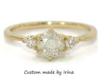 Three Stone Ring, Salt and Pepper Diamond Ring, Custom Made 3 Stone Engagement Ring, Milky Diamond Ring