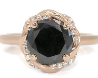 Black Diamond Engagement Ring by Irina, Braided Halo Meaningful Boho Engagement Ring, Uniuqe One Of A Kind Black Diamond 14k Rose Gold Ring