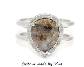 Teardrop Rose Cut Rustic Gray Diamond Cage Ring by Irina