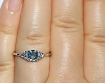 Pastel Blue Montana Sapphire Ring, 14k White Gold Round Teal Blue Montana Sapphire Ring, size 7, Ready To Ship, Three Stone Ring