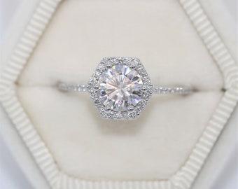 Hexagon Moissanite Engagement Ring by Irina