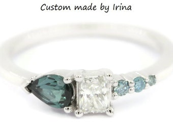 Blue Tourmaline Diamond Cluster Engagement Ombre One Of A Kind Ring by Irina, Indicolite Tourmaline Asymmetric Ring, Unique Proposal Ring