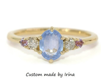 Custom Five Stone Ring, 5 Stone Ombre Blue Sapphire and Diamond Ring