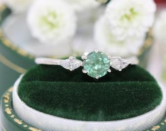 Round Montana Sapphire Three Stone Ring, Blue Green Sapphire Ring, Montana Sapphire Ring, Pastel Green Sapphire Ring, 3 Stone Ring