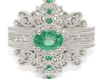 Emerald Edwardian Engagement Rings Set by Irina