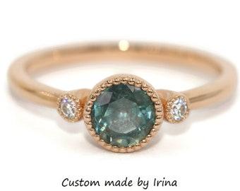 Custom 3 Stone Ring, 1 carat Montana Sapphire Engagement Ring, Pastel Green Montana Sapphire Three Stone Ring