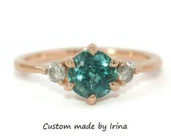 Custom Made Teal Blue Green Tourmaline Ring, Indicolite Tourmaline 3 Stone Ring, Teal Natural Tourmaline Ring, 3 stone Diamond Ring