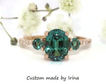 3 Stone Alexandrite Ring, Oval Alexandrite Engagement Ring, Custom Made Alexandrite Three Stone Ring