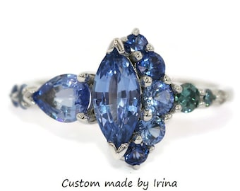 Blue Sapphire Cluster Engagement Ring, Marquise Sapphire Multi Color Ombre Ring, Custom Made Ring, One Of A Kind Alternative Engagement Ring