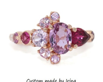 1 carat Pink Oval Sapphire Cluster Engagement Ring, Unique One Of A Kind Ring, Mixed Gemstones Asymmetric Ring, Half-Moon Crescent Ring