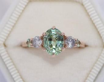 Custom Made 5 Stone Engagement Ring, SETTING ONLY, Salt and Pepper Diamond Ring, Five Stone Diamond Ring
