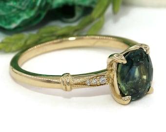 Blue Green Sapphire Ring, Mermaid Engagement Ring, Vintage Ring, 2 carat Teal Sapphire Ring, Edwardian Ring, Peacock Parti Sapphire Ring