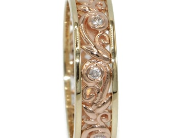 Leaf Wedding Ring, Bi-color Gold Wedding Band, Vine Leaf Scroll Filigree Ring, Rustic Eternity Ring, Pink and Yellow Gold Diamond Ring