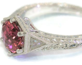 Hand Engraved Pink Tourmaline Vintage Inspired Engagement Ring by Irina