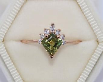 Custom Made Kite Sapphire Sunburst Ring, Geometric Engagement Ring