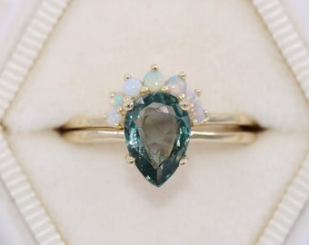 Pear Teal Sapphire Engagement Rings Set, Solitaire Ring with Custom Nesting Wedding Band