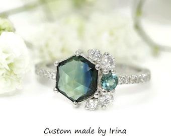 Blue Green Hexagon Sapphire Cluster Ring by Irina