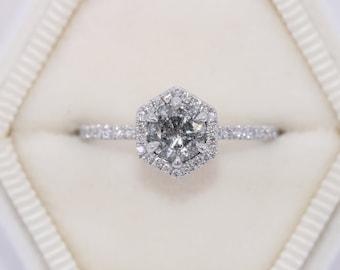 Hexagon Diamond Engagement Ring, Salt and Pepper Hexagon Diamond Ring