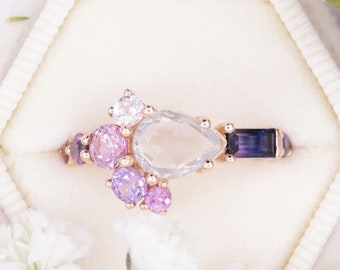 Rare Purple Pink White Sapphire Ombre Cluster Ring by Irina