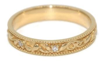 Paisley Wedding Ring, Leaf Vine Pattern Rustic Wedding Band, Vintage Filigree Engagement Band