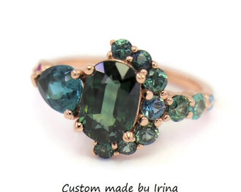 Oval Green Sapphire Boho Cluster Engagement Ring, One Of A Kind Half-Moon Ring, Crescent Ring, 2 carat Sapphire + Indicolite Tourmaline Ring