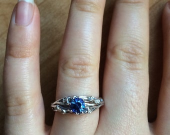 Blue Sapphire Engagement Ring by Irina