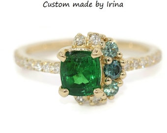 Emerald Custom Cluster Ring, Half Moon Crescent Halo Ombre Ring