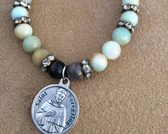 Amazonite teal, greens and blues bracelet with silver Saint Peregrine medal