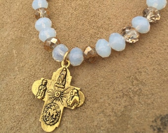 Clear Opaque Beads with a Gold Scapular Cross