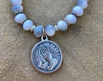 Grey and White Crystals, silver spacers with Silver Serenity Prayer Charm(praying hands)