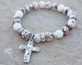Brown and White Agate with Ivory accents and silver flower cross