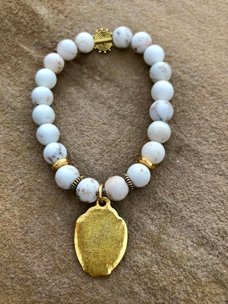 White Matte Agate with gold finish lead-free pewter Blessed Mother medal and accents