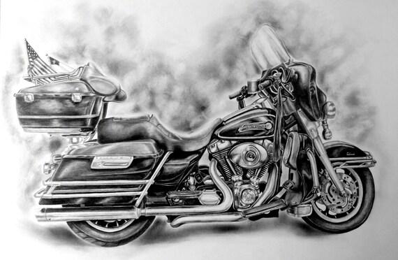 Dessin Moto Custom custom harley davidson dessin de votre moto | etsy