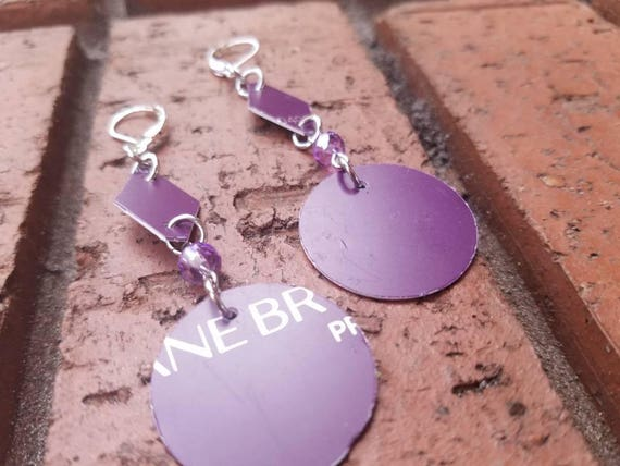 Purple Recycled Lane Bryant Credit Card Round Drop Earrings With Crystal Beads