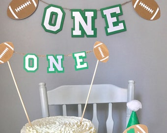 Football birthday, boys first birthday, high chair banner, birthday hat, cake topper, cake smash, photography prop, football first birthday