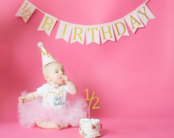 Half Birthday Banner 1 2 Decorarions Photography Prop Outfit