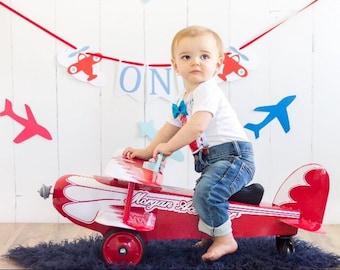 High chair banner, time flies, time flies birthday, first birthday, plane birthday, plane decorations